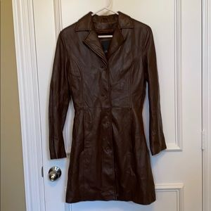 EUC BROWN LEATHER JACKET SMALL BROWN LEATHER COAT